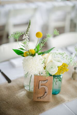 Yellow and White Centerpiece with Craspedia and Ranunculus