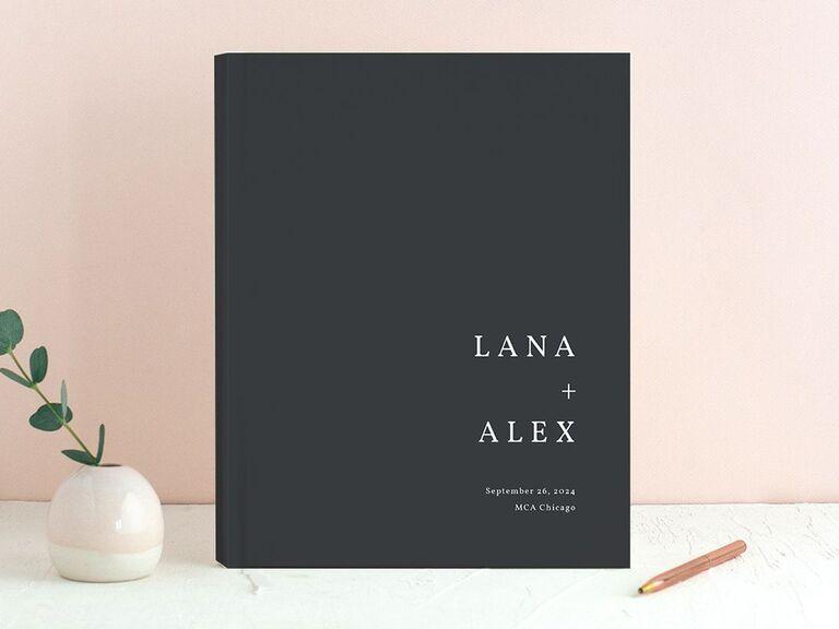 the knot natural palette black wedding guest book idea