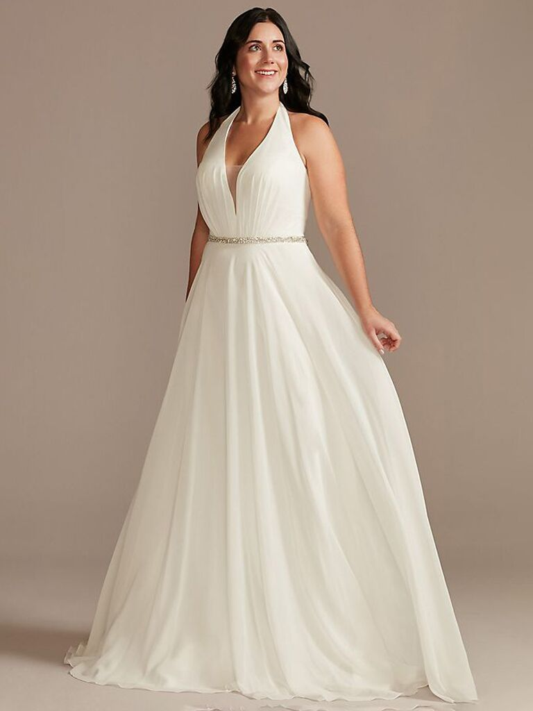 david's bridal white a line wedding dress with thick straps v-neckline beaded waistline and flowy pleated skirt