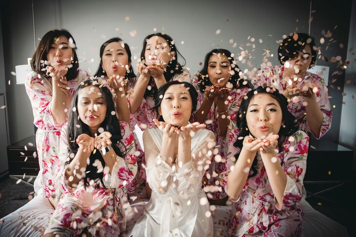 Bridesmaids Celebrating with Confetti While Getting Ready for Michigan Wedding