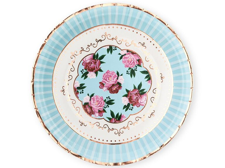 Paper plates with gold foil details, pink flowers in center and light blue border