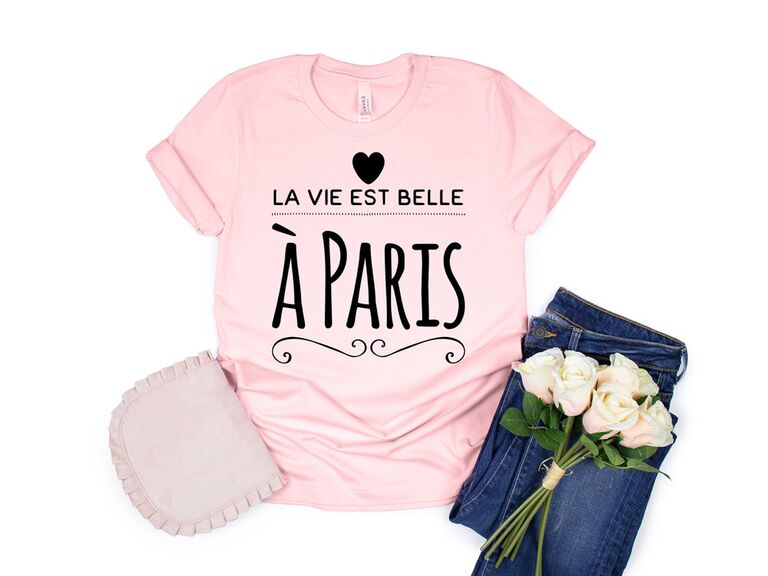 etsy light pink french shirt for paris themed bridal shower
