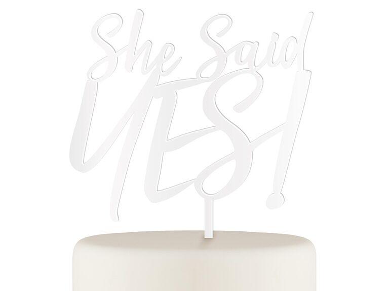 Simple white script in acrylic