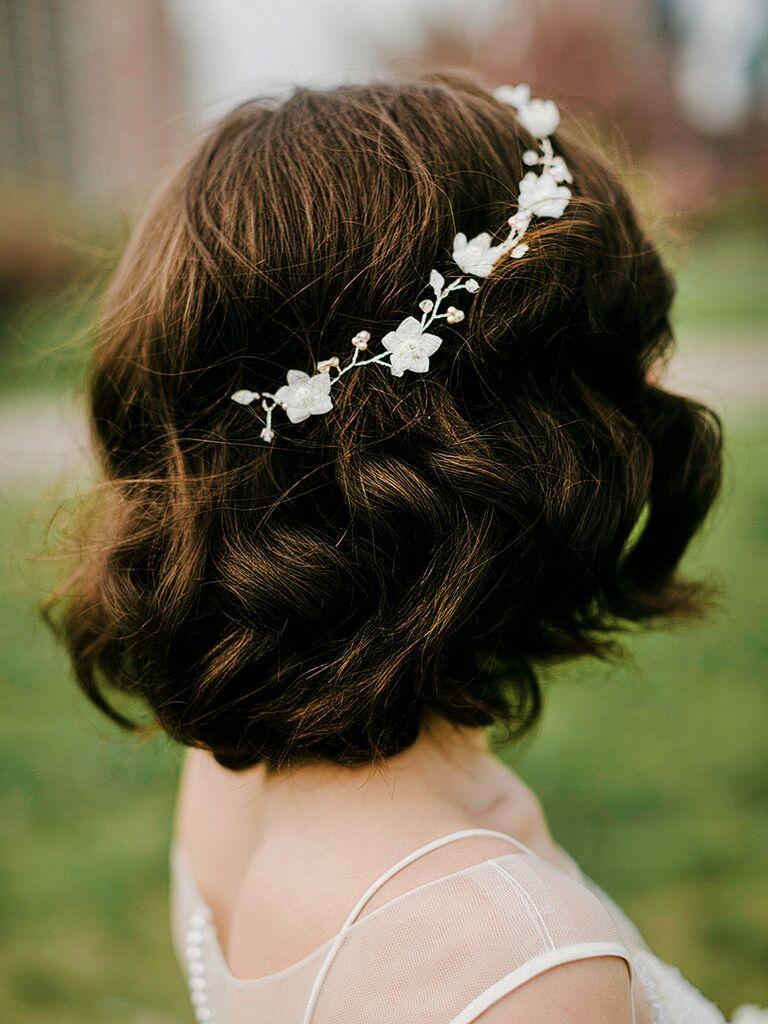 Short waves with jeweled flower headband