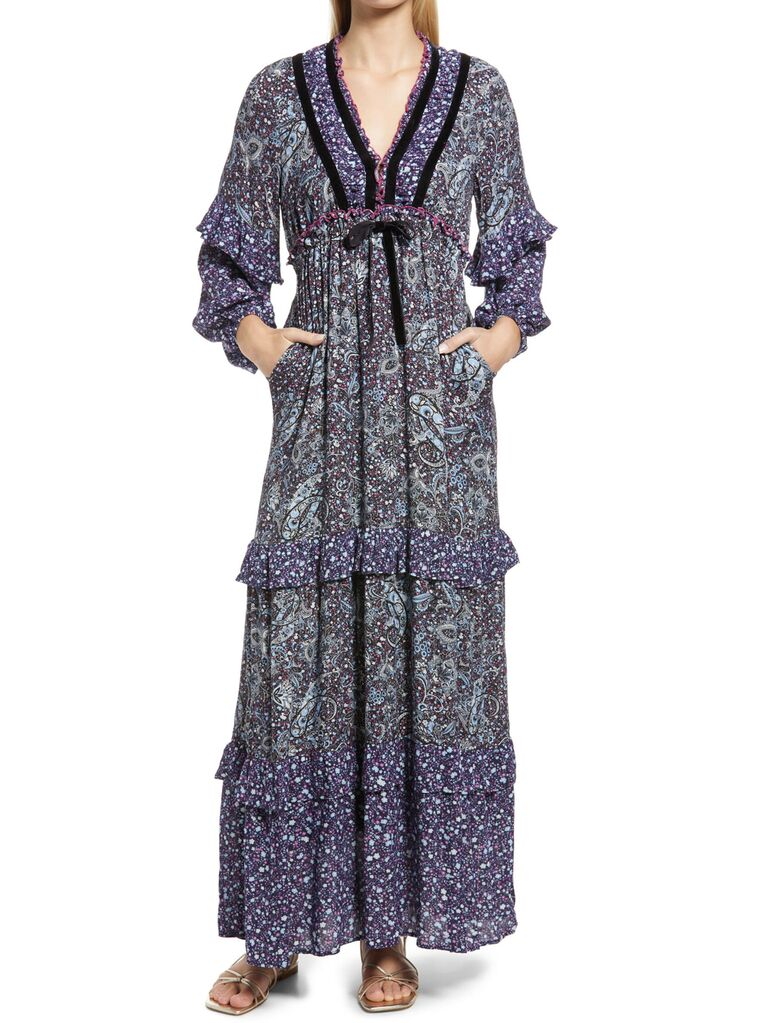 nordstrom multicolored paisley wedding guest long dress with velvet detailing