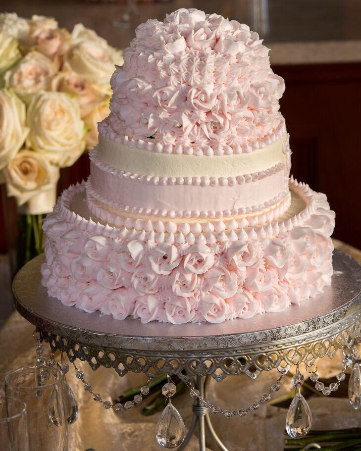 Pink Rosette Buttercream Wedding Cake