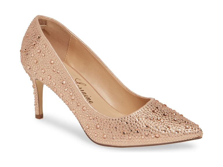 Sparkly rose gold wedding heels