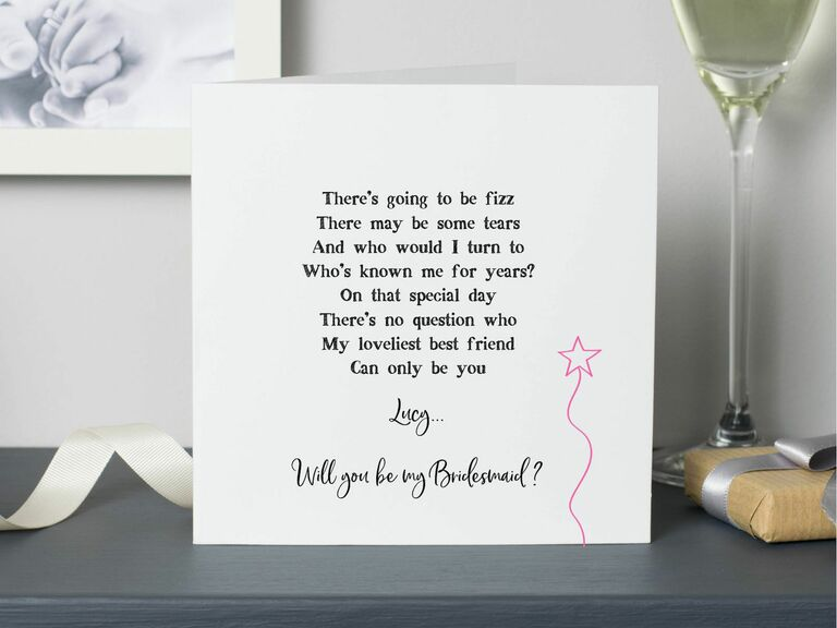 bridesmaid proposal card with poem