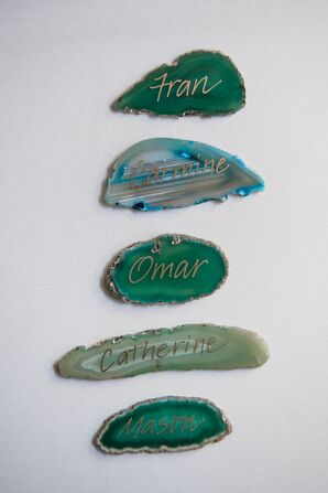 Hand-Lettered Agate Place Cards