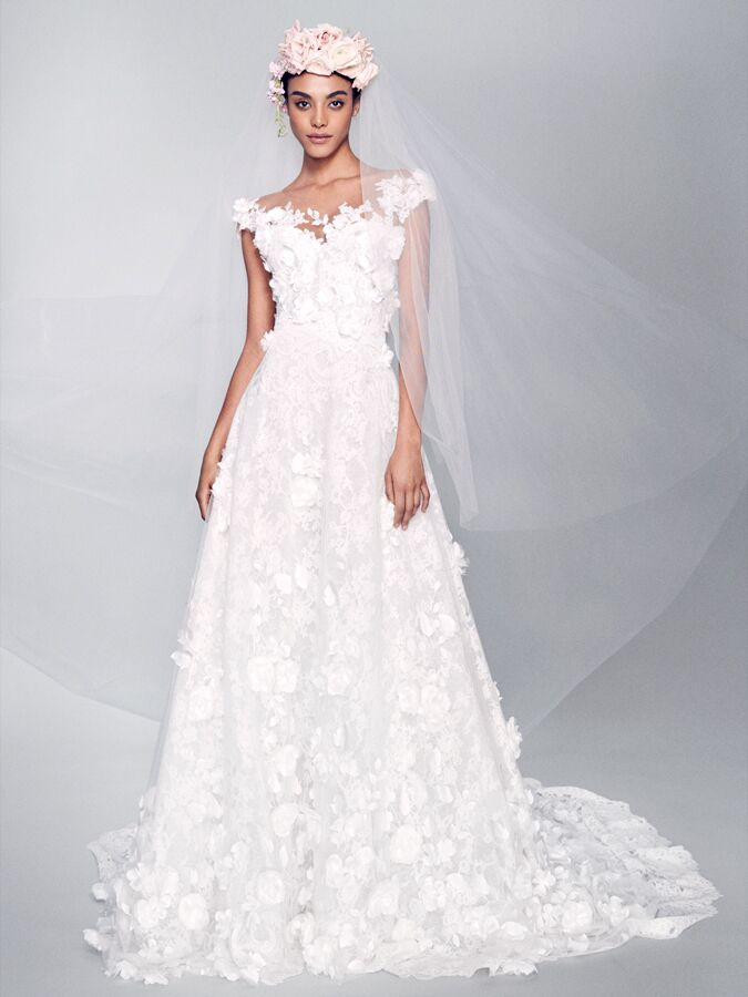 Marchesa sleeveless wedding dress with 3-D floral appliques