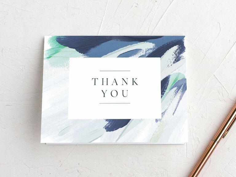 Blue brushstroke design bridal shower thank-you card