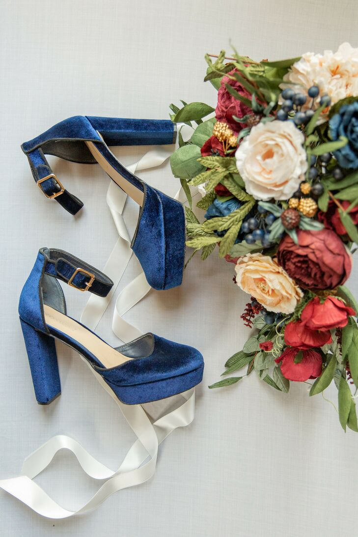Shoes and Bouquet for Wedding at Riverbed Farms in Anaheim, California