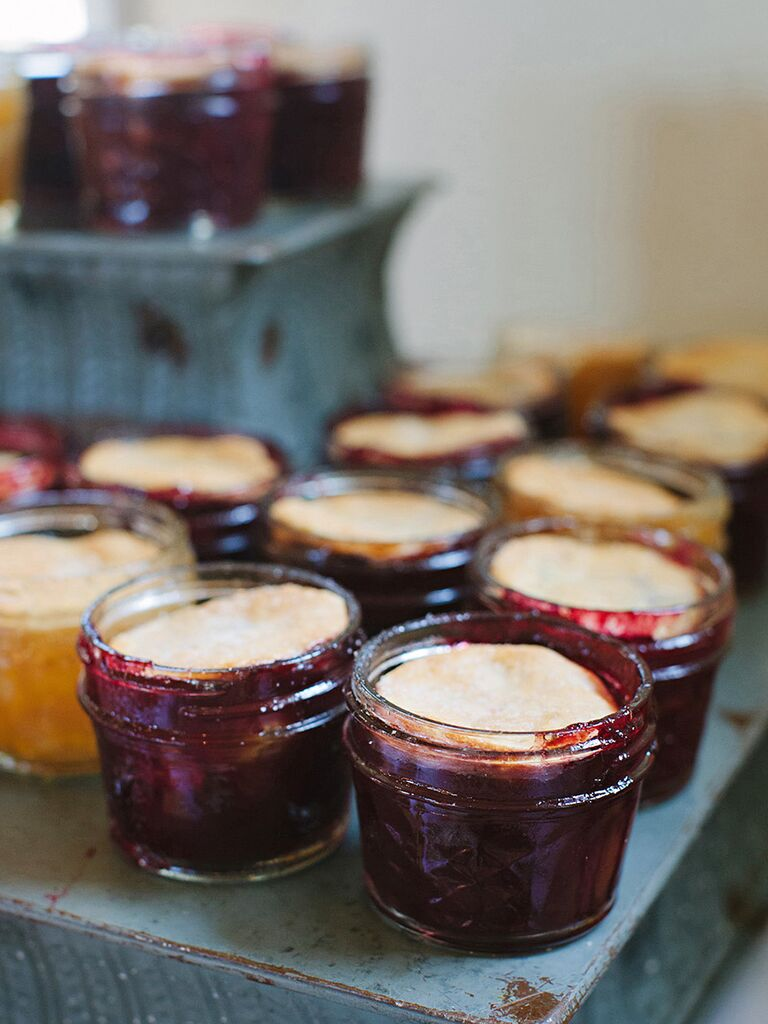 Southern wedding food dessert idea with jarred pies