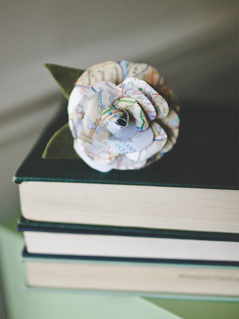 Paper flower made of map