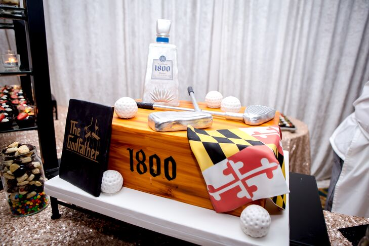 """The groom's cake that Beth gifted to Stephen was decorated with his favorite things, including golf balls, golf clubs and """"The Godfather."""""""
