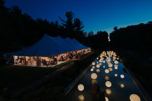 Tented Reception with Paper Lanterns at Cranbrook House & Gardens in Bloomfield Hills, Michigan