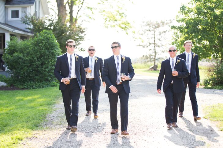 Groomsmen in Navy Suits
