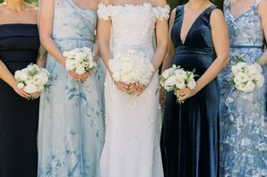 White Bouquets and Blue Bridesmaid Dresses