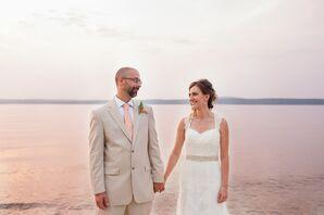 Bride and Groom at Lake Michigan