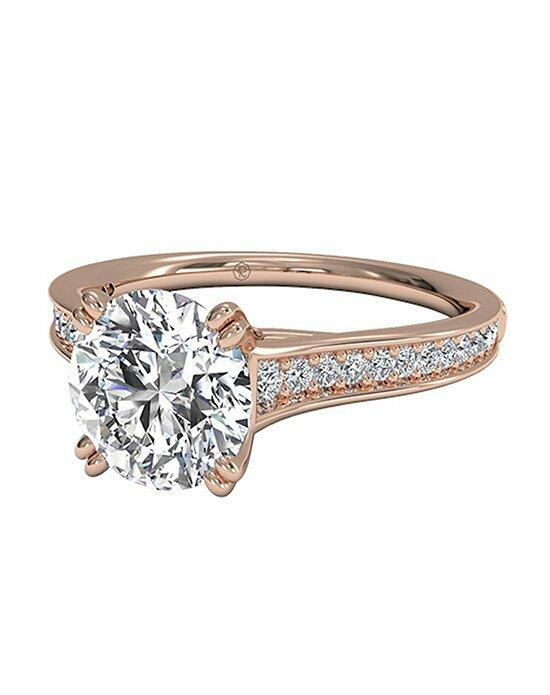 Ritani Round Cut Micropavé Diamond Band Engagement Ring with Surprise Diamonds in 18kt Rose Gold (0.17 CTW) Engagement Ring photo
