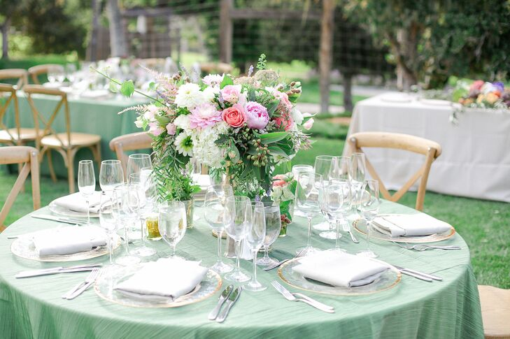 Pale Green Linens and Romantic Wild Centerpieces