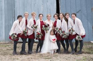 Red Bridesmaids Dresses with White Lace Cardigans