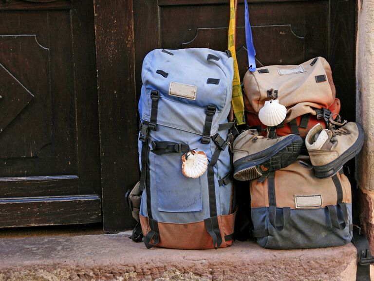Two backpacks in a doorway
