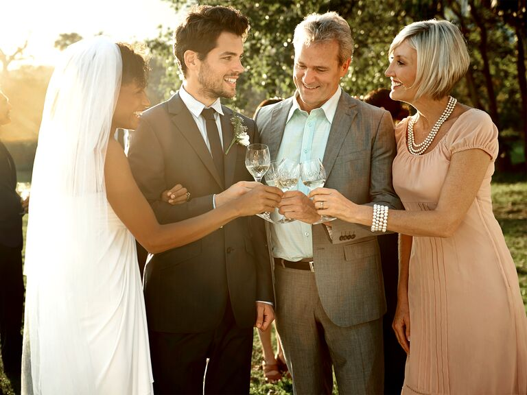 Bride, groom and groom's family
