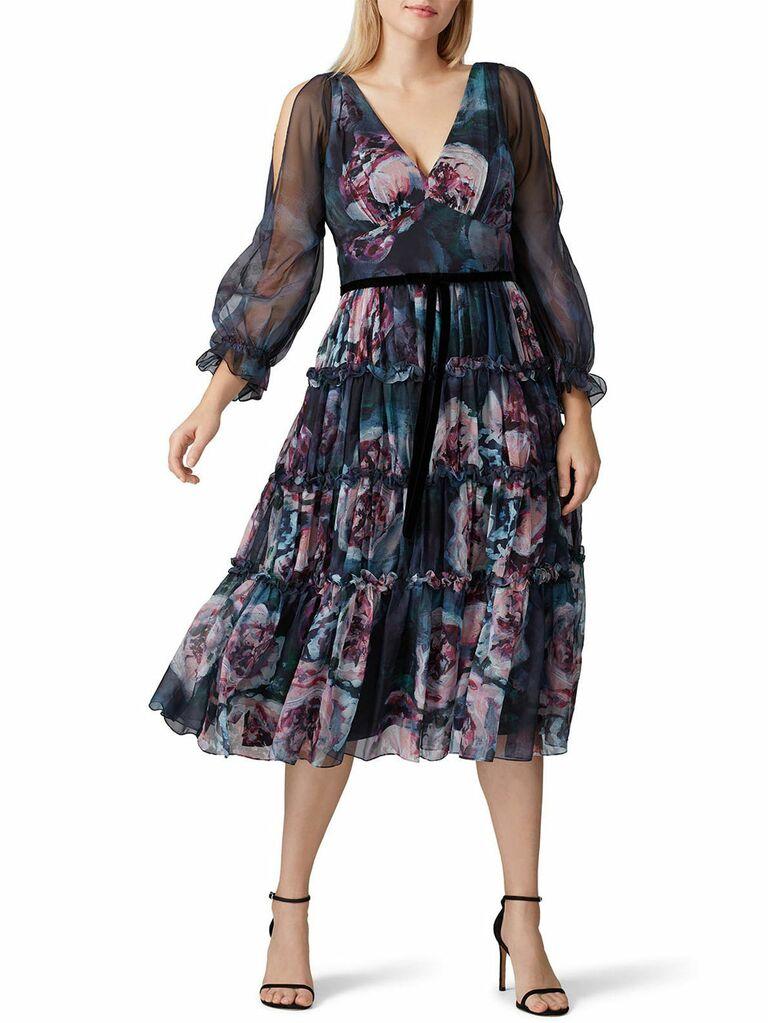 Dark moody floral print midi fall wedding guest dress with sheer long sleeves