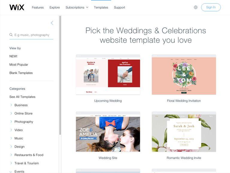 WIX Wedding Website templates