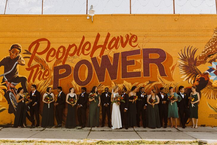 Wedding Party Poses in Front of Street Art Mural in Detroit, Michigan