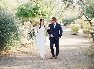 Boulders Resort & Spa Scottsdale provided breathtaking views of the surrounding desert for Evy and Dane Lyons's nuptials. The theme and hashtag, #thec