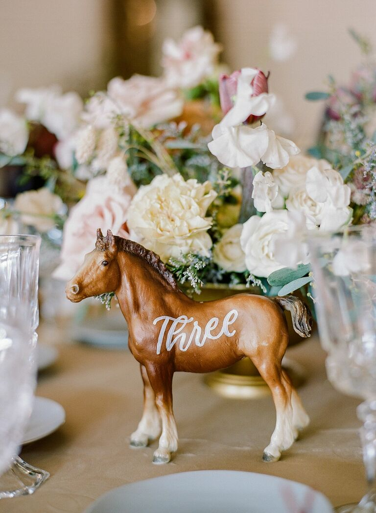 Model horse as table number