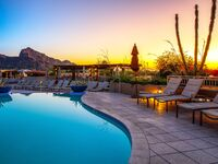 arizona spa resort with pool at sunrise