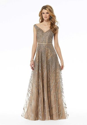 MGNY 72136 Gold,Blue Mother Of The Bride Dress