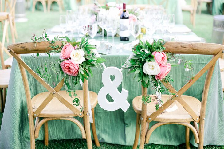 French Country Chairs With Pink Roses and Vines