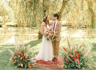 """Julia Cowher and Matt Ruschell's wedding embodied """"vintage, eclectic, romantic,"""" vibes inspired by""""nature, cacti, the music and aesthetic of the 1960"""