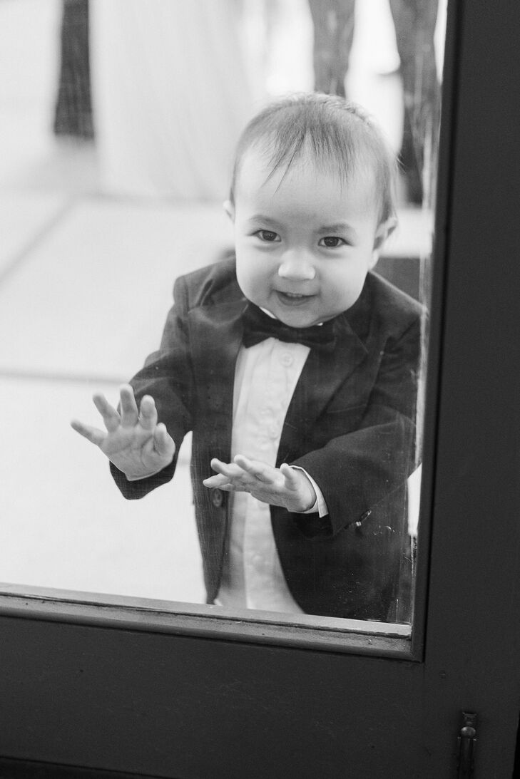 Ring Bearer Smiling During Wedding at Eolia Mansion in Waterford, Connecticut