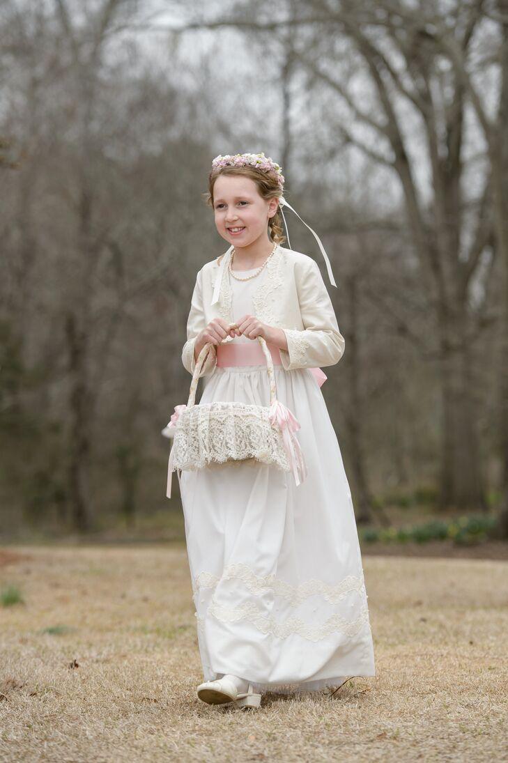 Ivory Flower Girl Dress, Blush Sash
