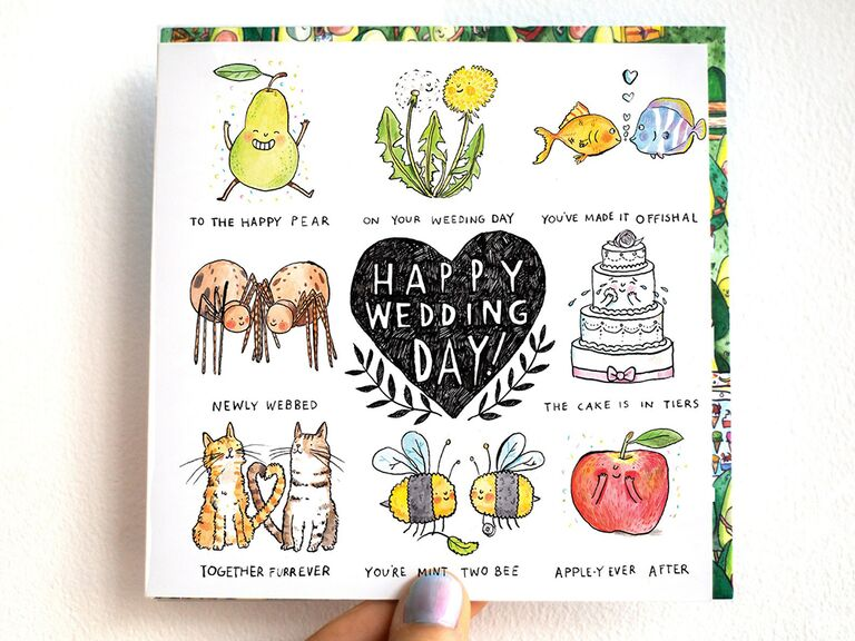 Cute wedding puns with related graphics and 'Happy wedding day!' in black heart in center