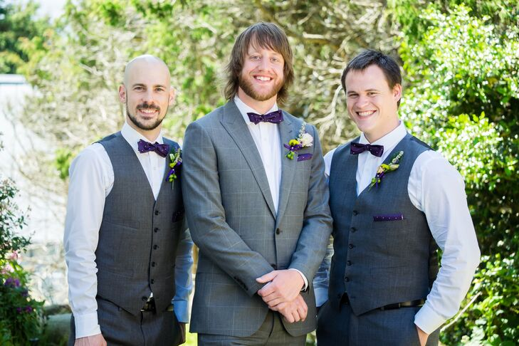 Chris' groomsmen wore coordinating J.Crew vests and pants, sans jacket. The guys sported the same plum-hued bow ties and pocket squares.