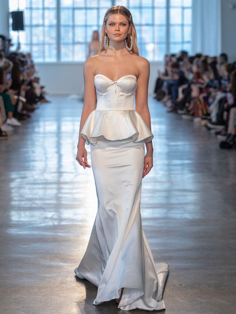 Berta Spring 2020 Bridal Collection peplum corseted strapless wedding dress