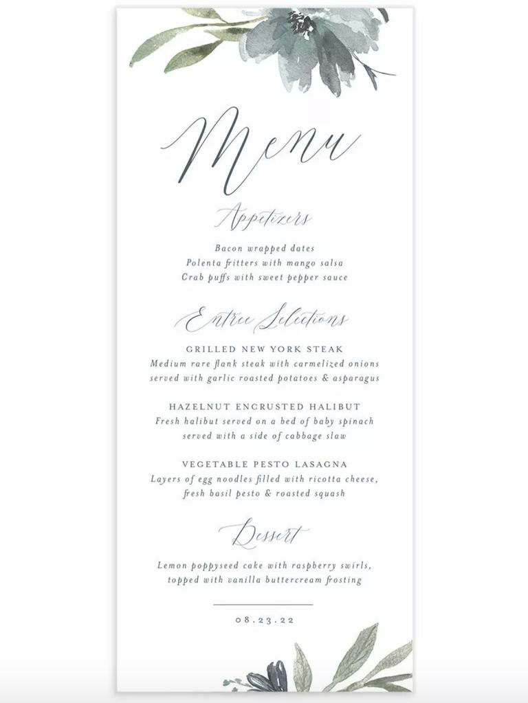 postwedding brunch menu watercolor flowers