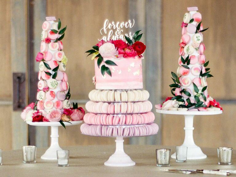 pink wedding macaron dessert table