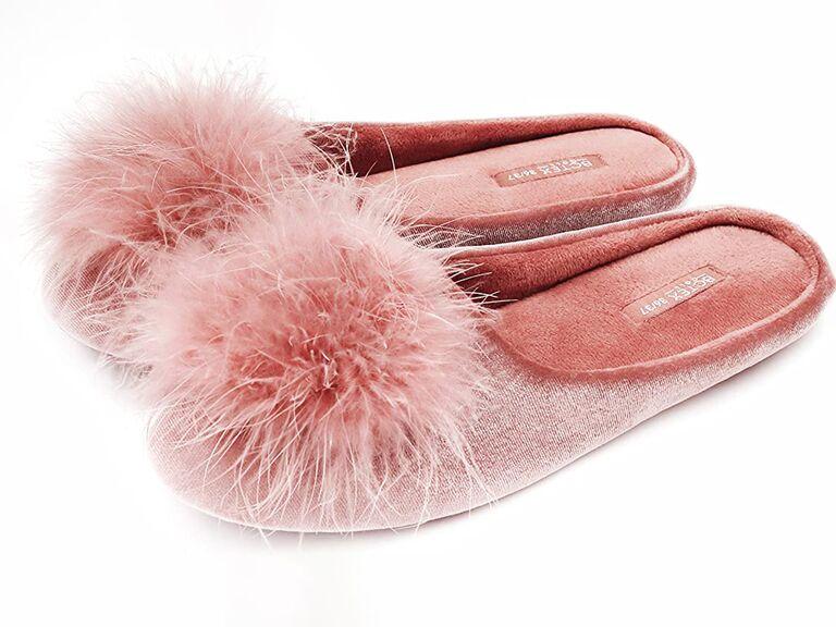 amazon rose velvet bride slippers with fuzzy pom pom