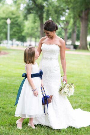 White and Navy Flower Girl Dress