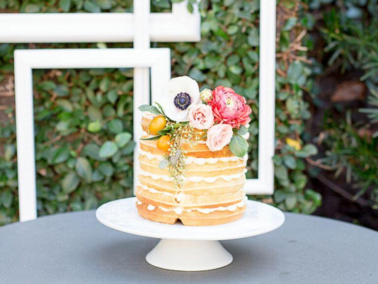 Waffle bridal shower cake with fresh flowers