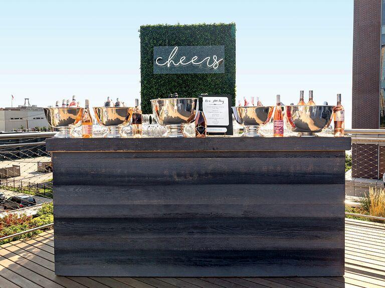 Neon 'cheers' bar sign wedding reception
