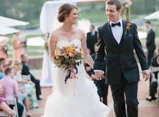 An orange and blue color scheme set the tone for Shayna Fogleman (28 and a marketing and communications manager) and Dan Grassi (32 and a mechanical e