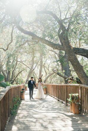Couple Walking Along Wooden Bridge at Calamigos Ranch in Malibu, California